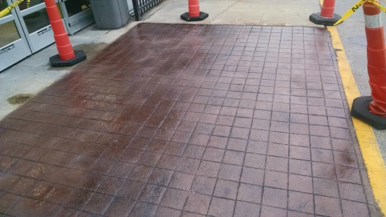 stamped concrete 6 inch tile pattern in Maine