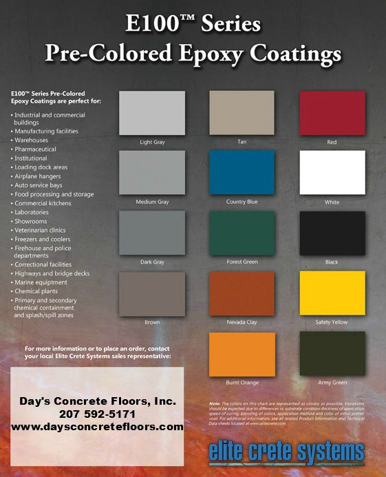 Epoxy color chart epoxy floor paint color chart for Cement paint colors for floors