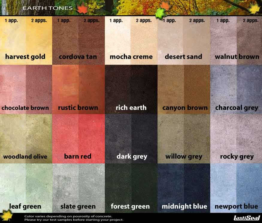 Concrete Stain Color Chart For Staining Concrete Floors In