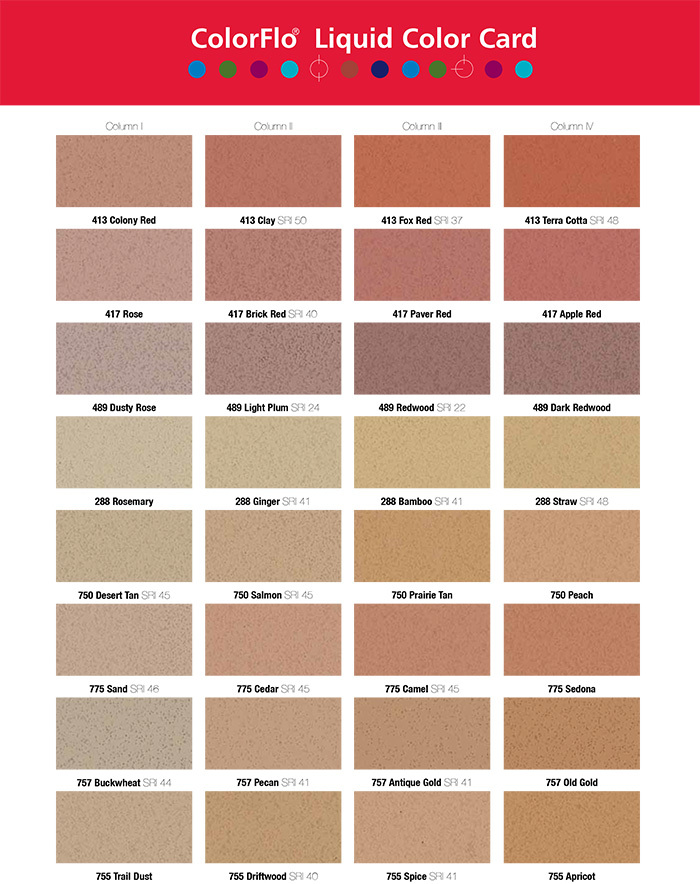 Integral concrete color chart