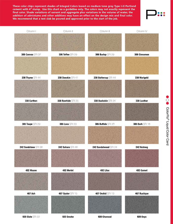 color chart for coloring concrete