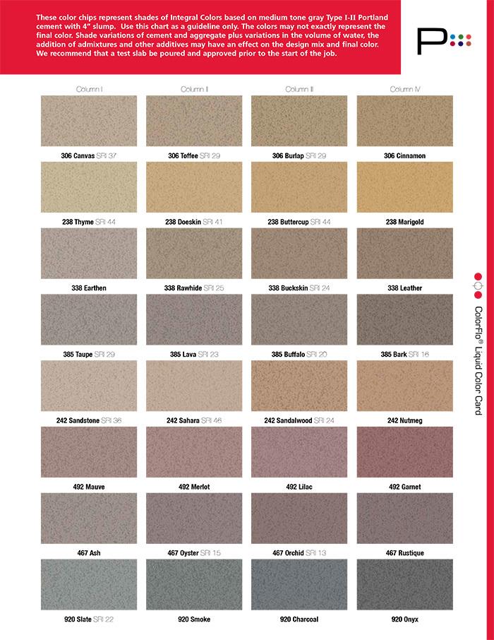 color chart for coloring concrete