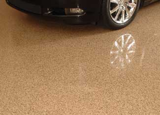 Tan colored garage floor epoxy coating