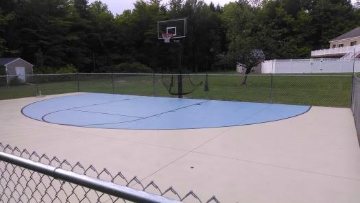 backyard basketball court in central maine