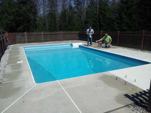 Here We Are In Cumberland, Me. Starting To Overlay Or Resurface This  Concrete Pool Deck. The Concrete Was Very Worn And Stained.