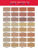 Integral color chart for coloring concrete