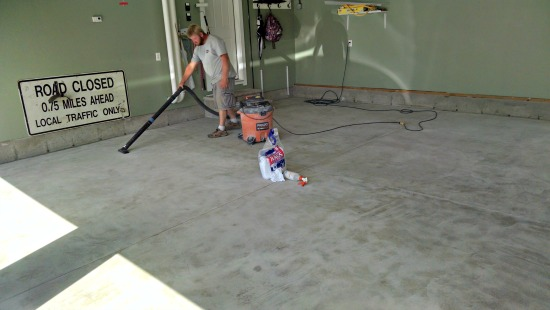 Prepping for Reflector enhancer epoxy floor.