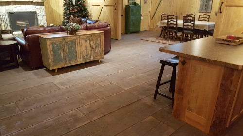 stamped concrete barn board pattern in Maine