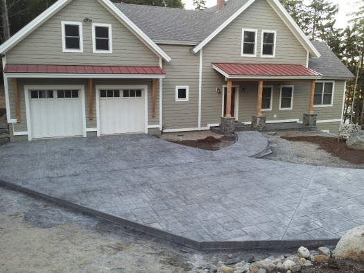 Hereu0027s A Concrete Driveway We Installed In Mid Coast Maine Stamped To Look  Like Ashlar Slate.