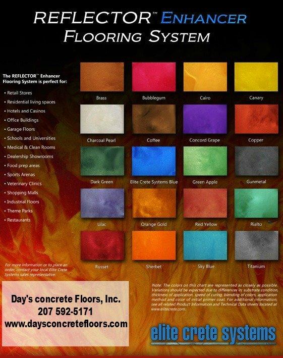 Reflector enhancer epoxy color chart