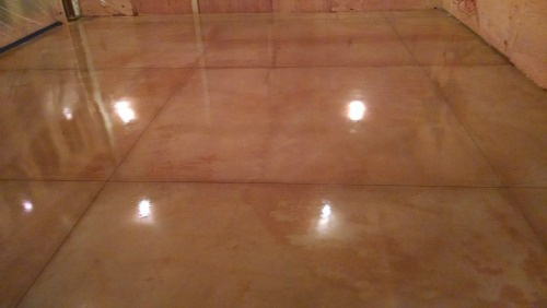 stained concrete floor in Bar Harbor Me.