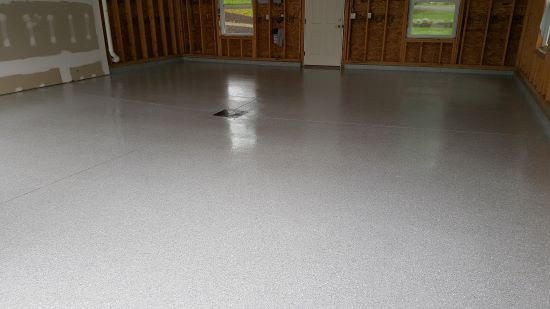 Garage epoxy floor in Lewiston, Me