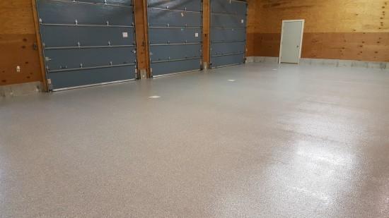 Garage epoxy floor in Lisbon, Me.
