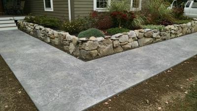 Stamped concrete walkway in Oakland, Me